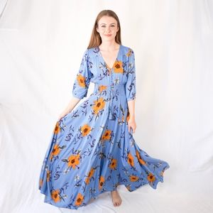JAASE Harlow Floral Print Blue Indiana Maxi Dress